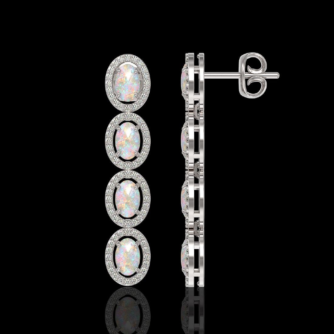 4.05 CTW Opal & Diamond Halo Earrings 10K White Gold - 2