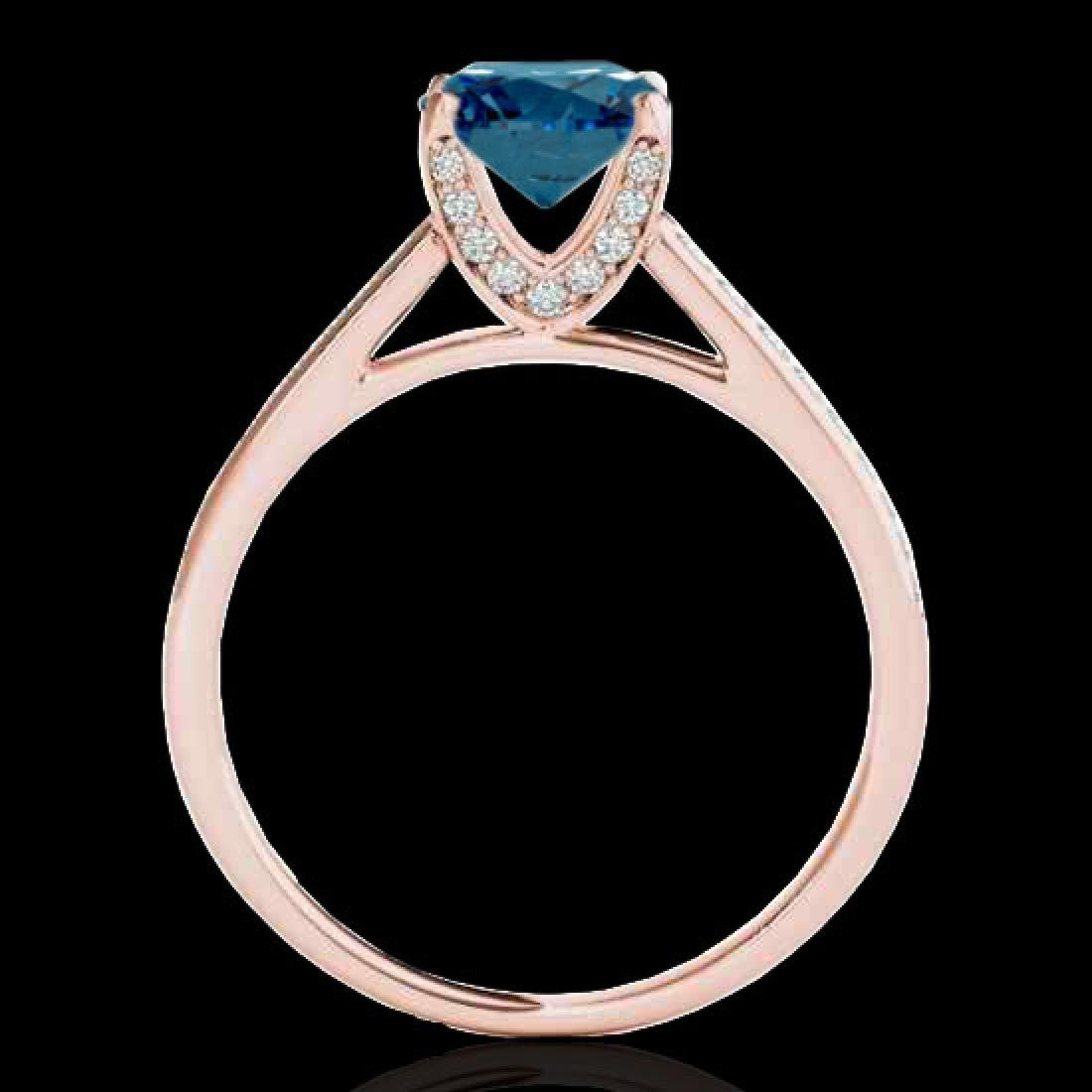1.5 CTW SI Certified Fancy Blue Diamond Solitaire Ring - 2