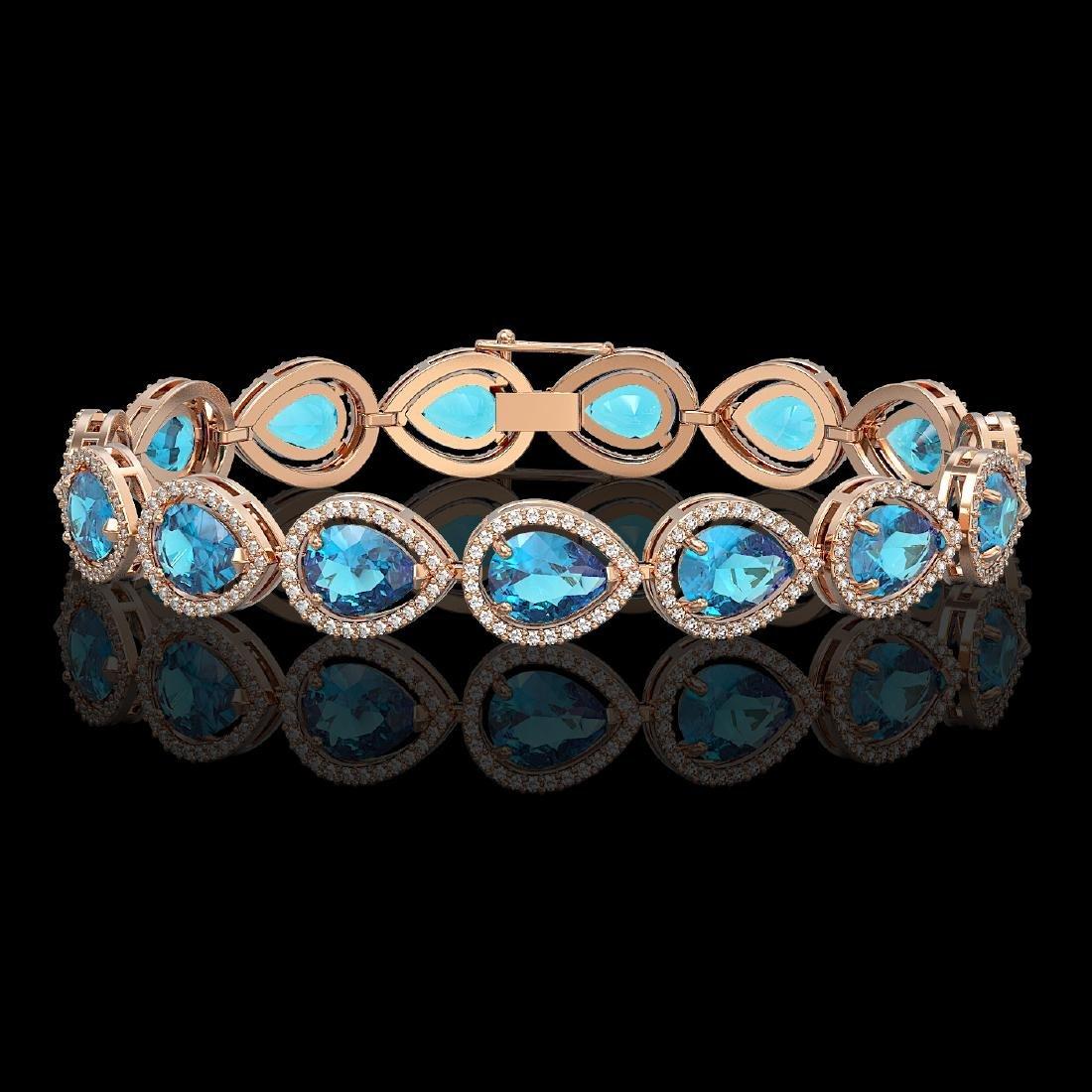 20.3 CTW Swiss Topaz & Diamond Halo Bracelet 10K Rose