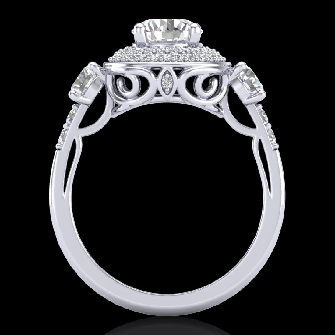 2.05 CTW VS/SI Diamond Solitaire Art Deco 3 Stone Ring