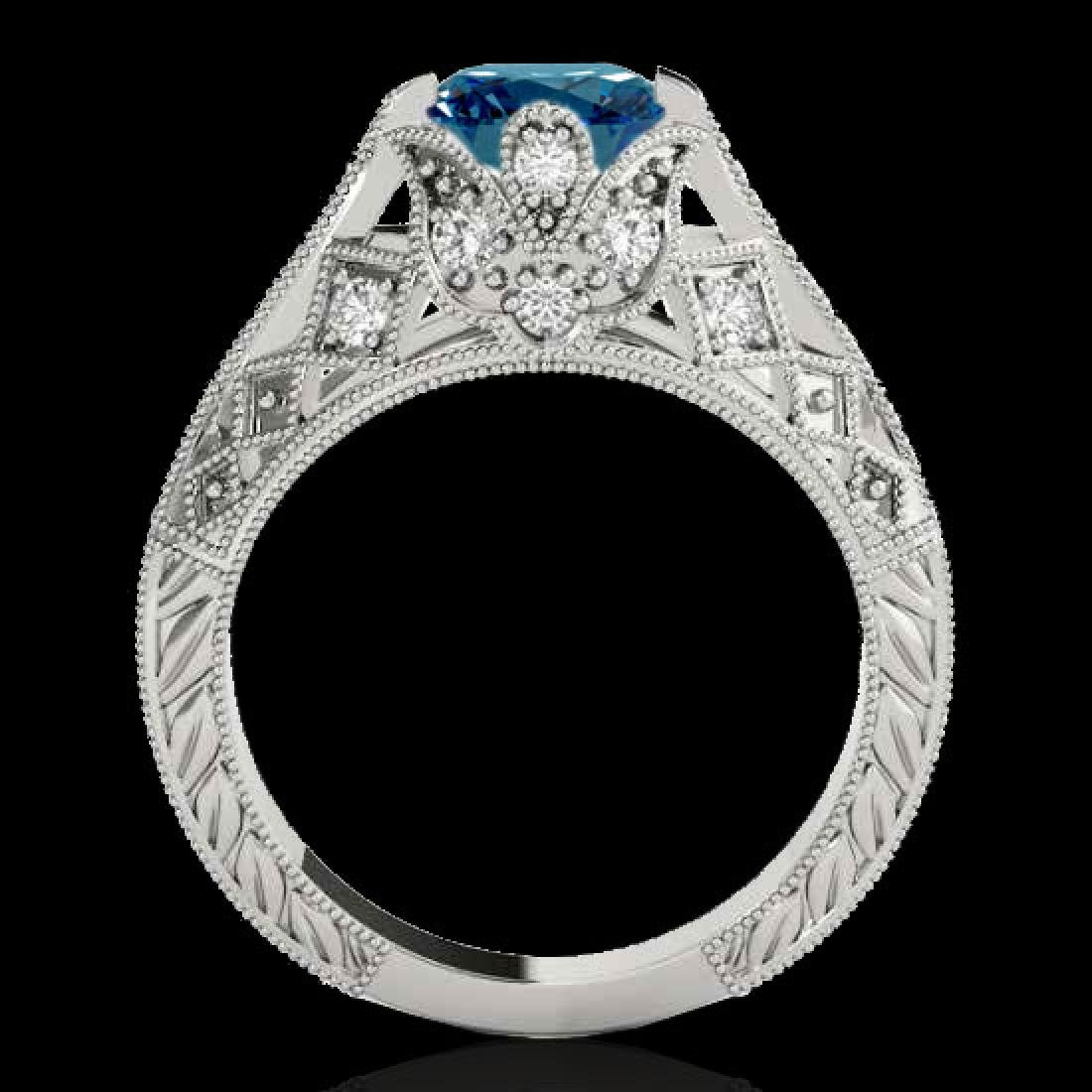 1.25 CTW SI Certified Blue Diamond Solitaire Antique - 2