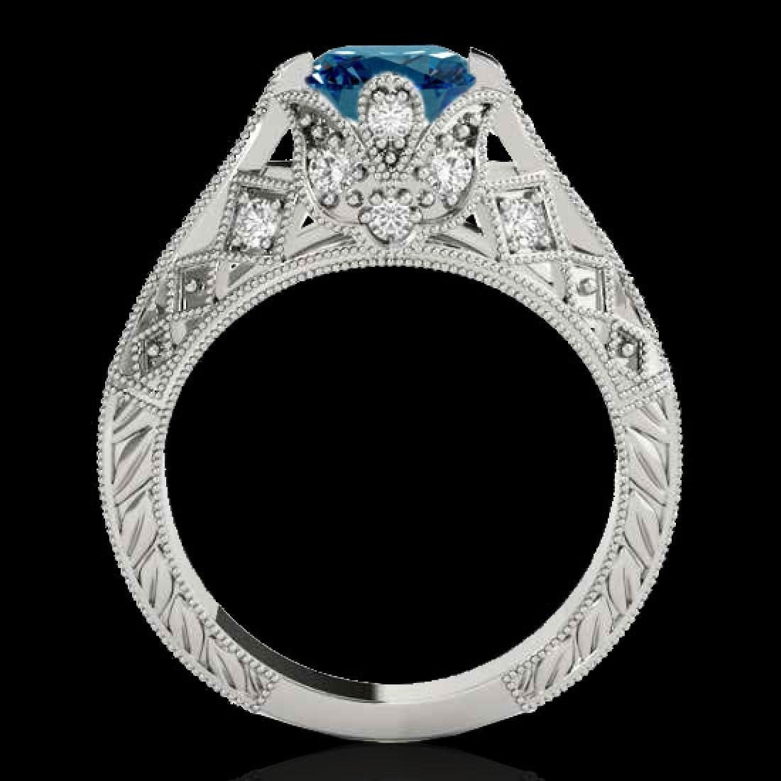 1.25 CTW SI Certified Blue Diamond Solitaire Antique - 2