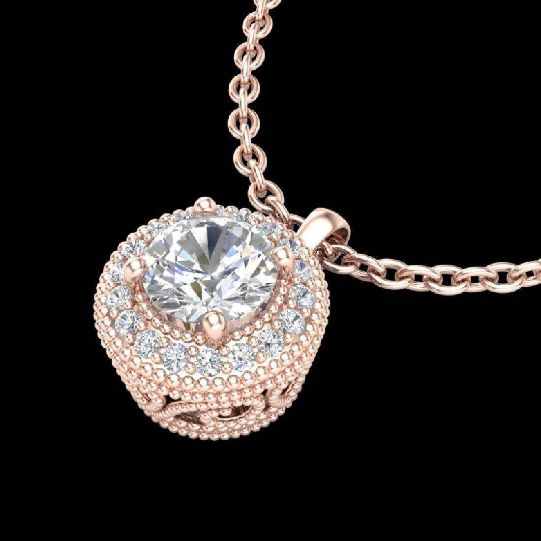 1 CTW VS/SI Diamond Solitaire Art Deco Stud Necklace - 2