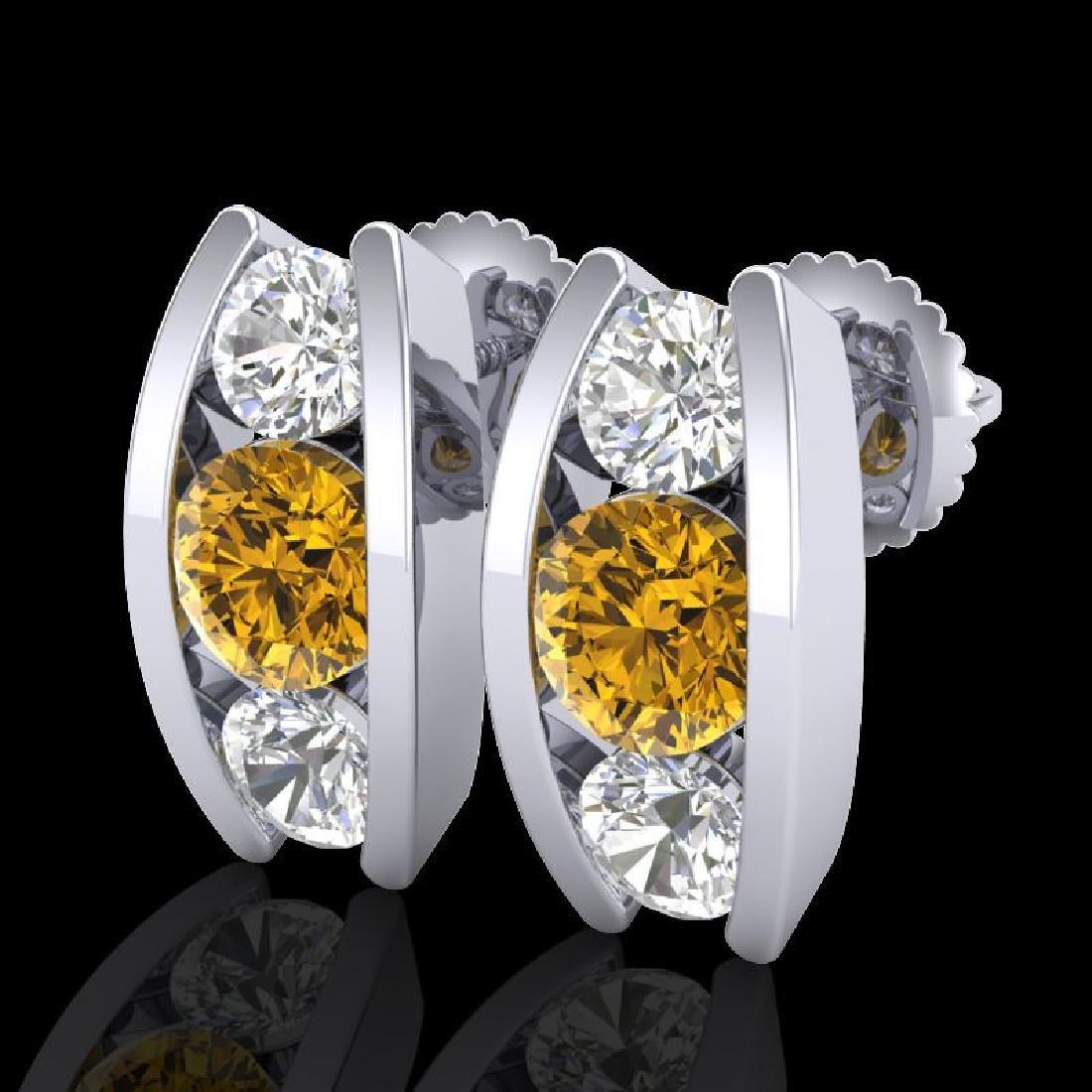 2.18 CTW Intense Fancy Yellow Diamond Art Deco Stud