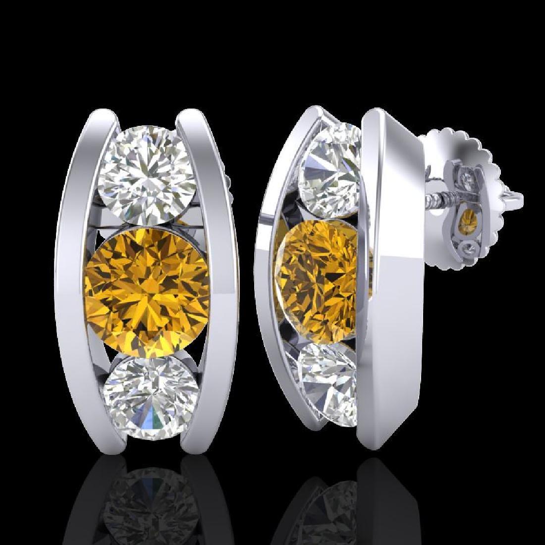 2.18 CTW Intense Fancy Yellow Diamond Art Deco Stud - 2