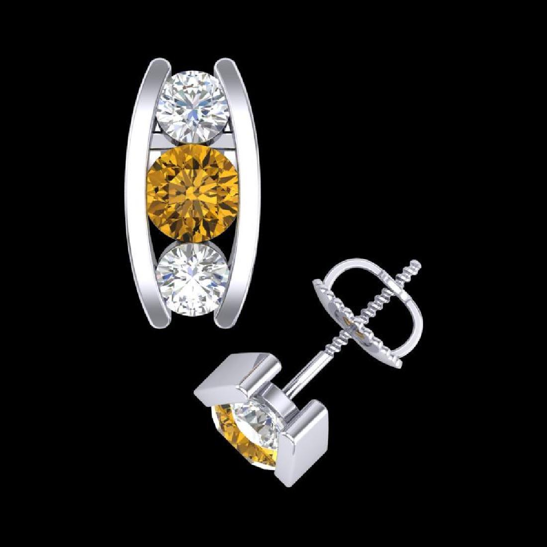 2.18 CTW Intense Fancy Yellow Diamond Art Deco Stud - 3