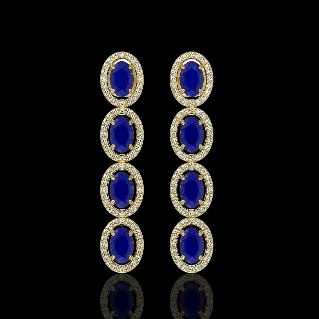 6.47 CTW Sapphire & Diamond Halo Earrings 10K Yellow
