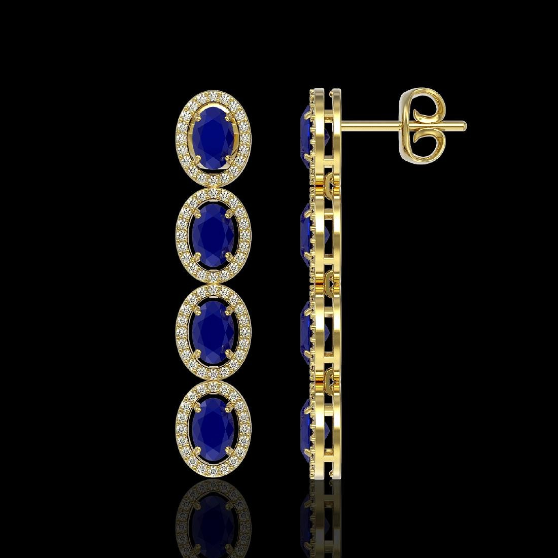 6.47 CTW Sapphire & Diamond Halo Earrings 10K Yellow - 2