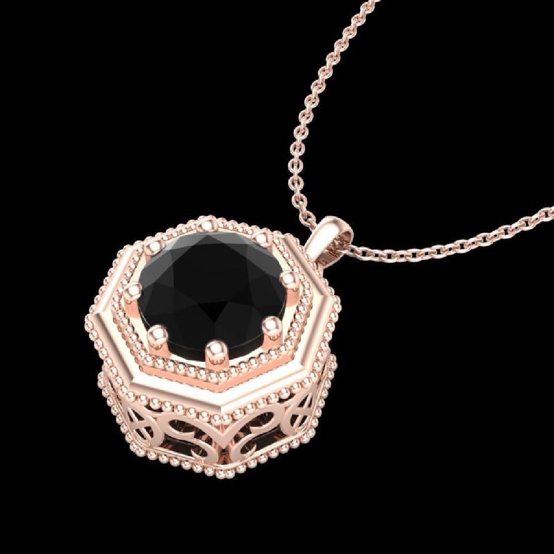 0.75 CTW Fancy Black Diamond Solitaire Art Deco Stud - 2