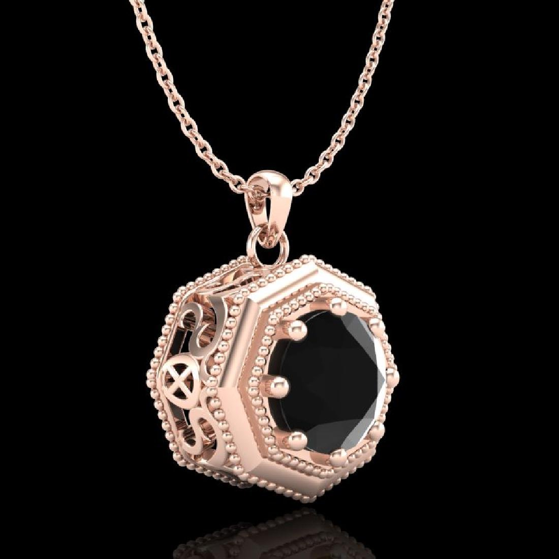 0.75 CTW Fancy Black Diamond Solitaire Art Deco Stud - 3