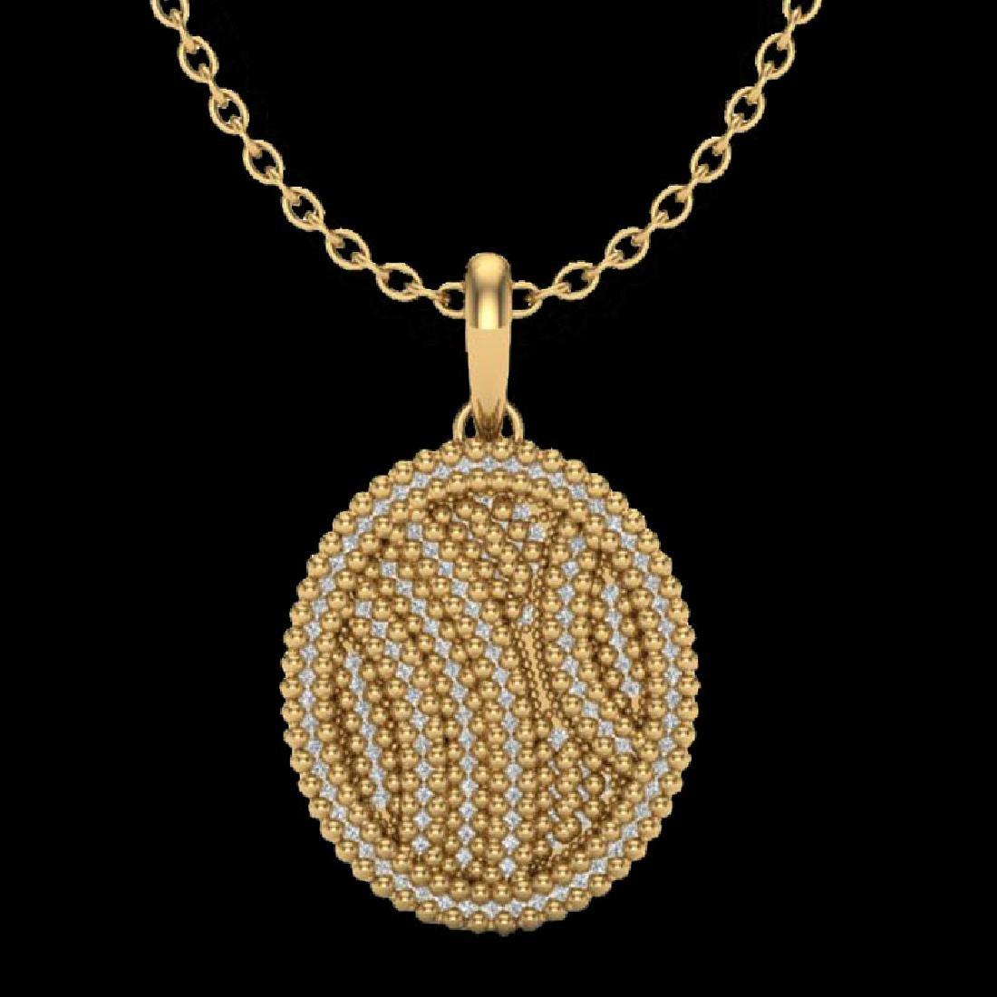 1 CTW Micro Pave VS/SI Diamond Necklace 14K Yellow Gold