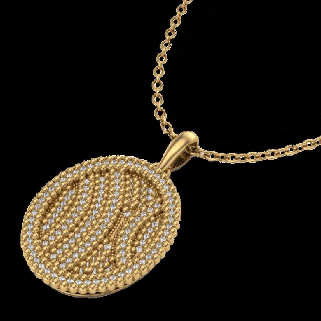 1 CTW Micro Pave VS/SI Diamond Necklace 14K Yellow Gold - 2