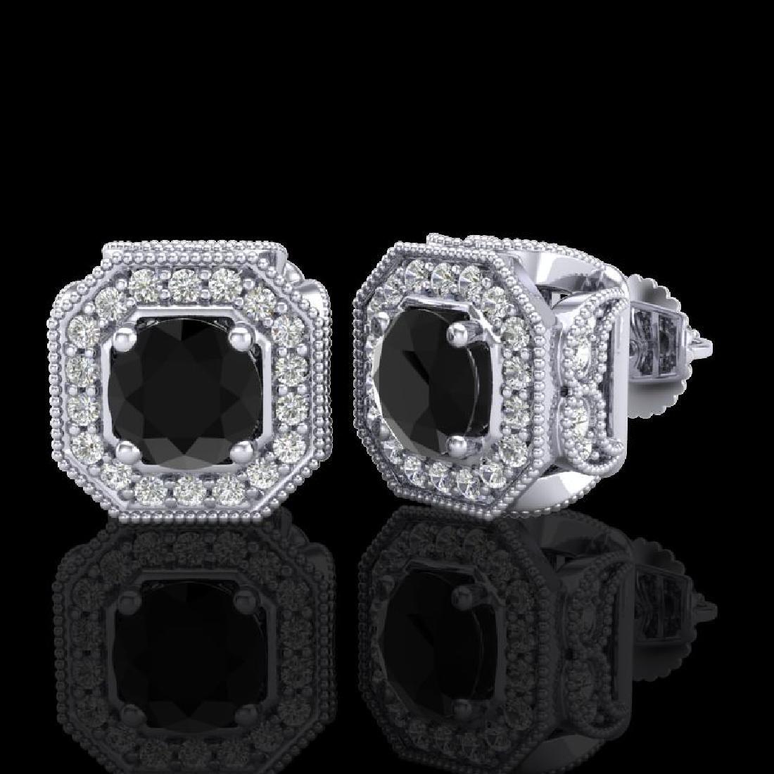 2.75 CTW Fancy Black Diamond Solitaire Art Deco Stud - 2