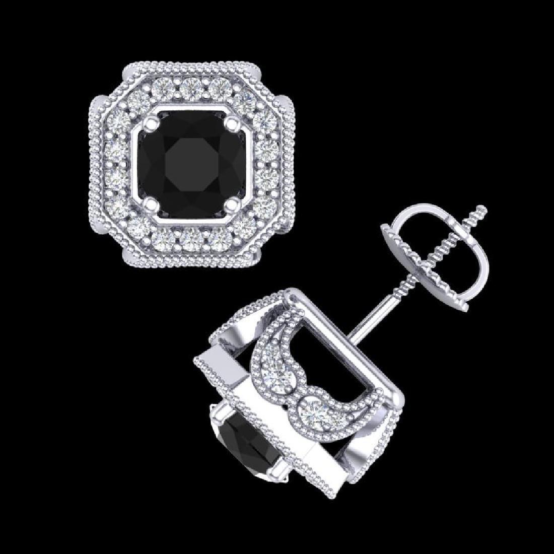 2.75 CTW Fancy Black Diamond Solitaire Art Deco Stud - 3