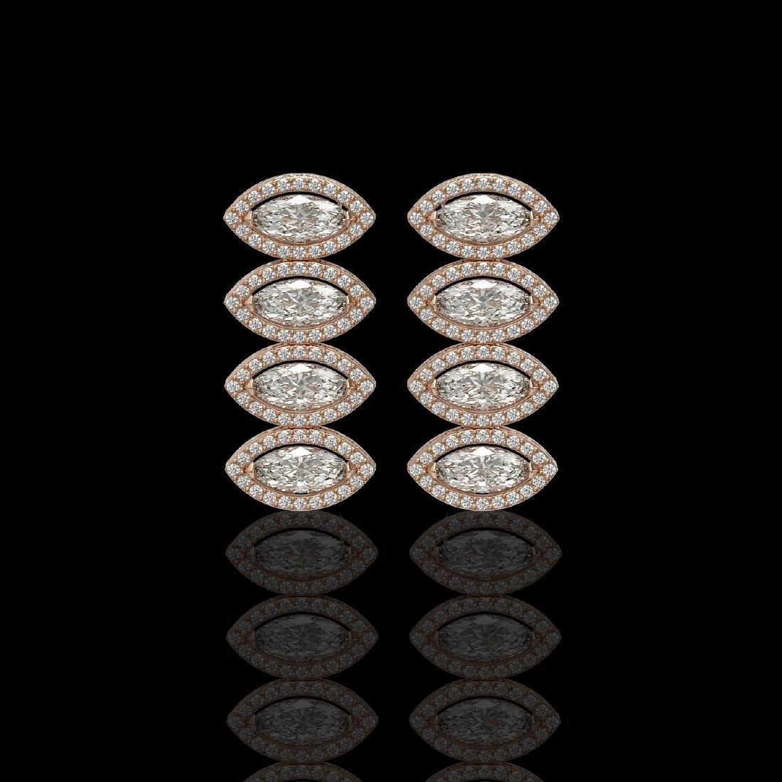 5.33 CTW Marquise Diamond Designer Earrings 18K Rose
