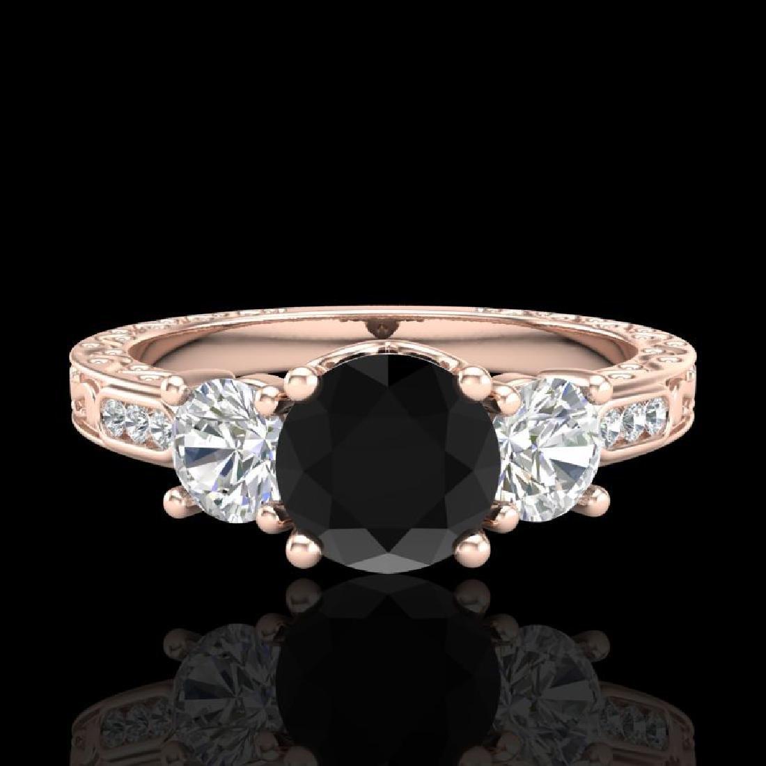 1.41 CTW Fancy Black Diamond Solitaire Art Deco 3 Stone - 2