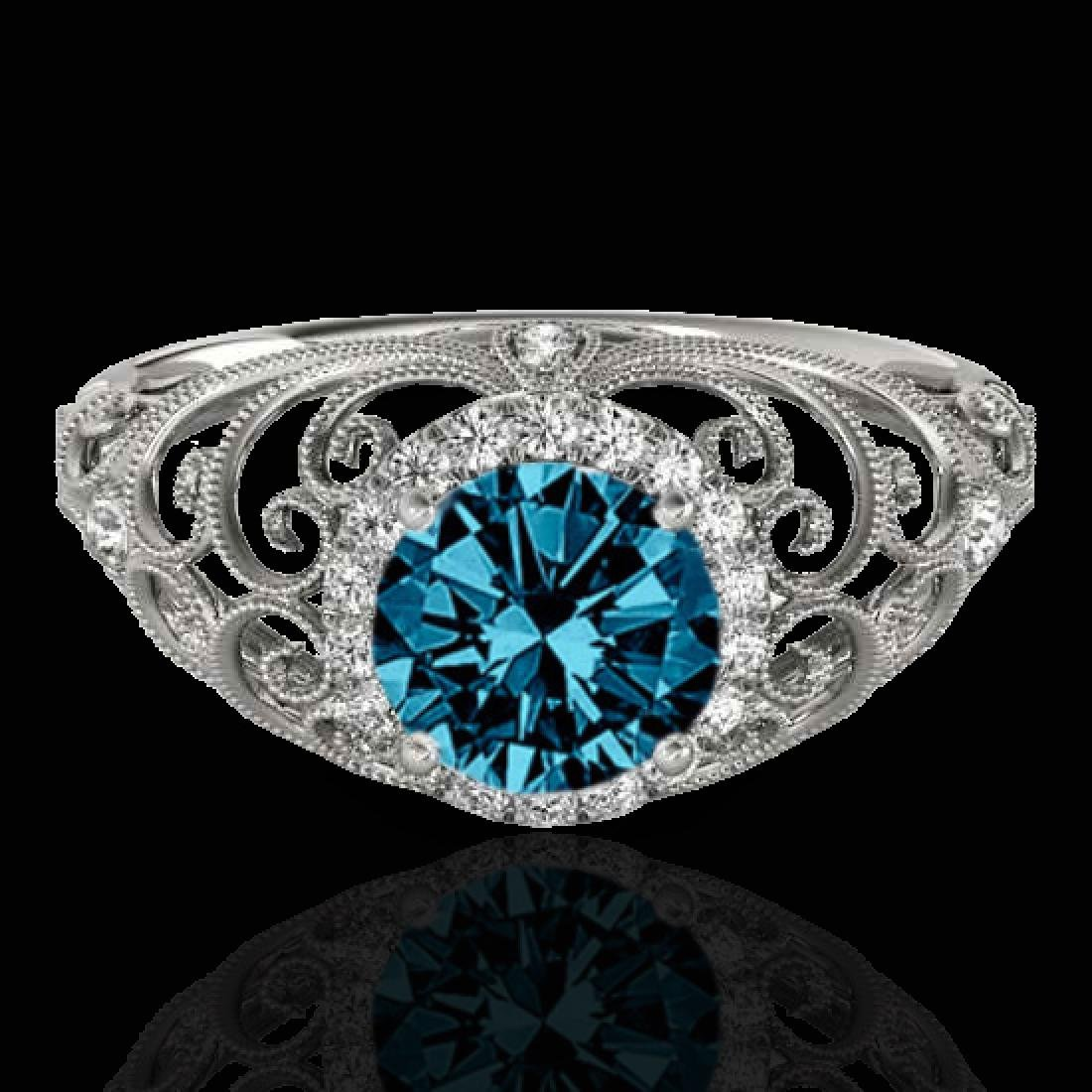 1.22 CTW SI Certified Fancy Blue Diamond Solitaire Halo