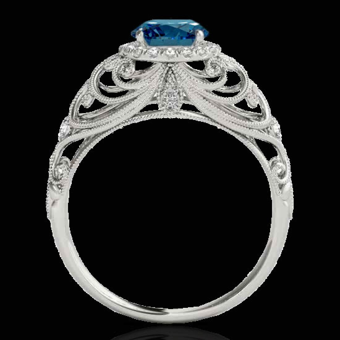 1.22 CTW SI Certified Fancy Blue Diamond Solitaire Halo - 2