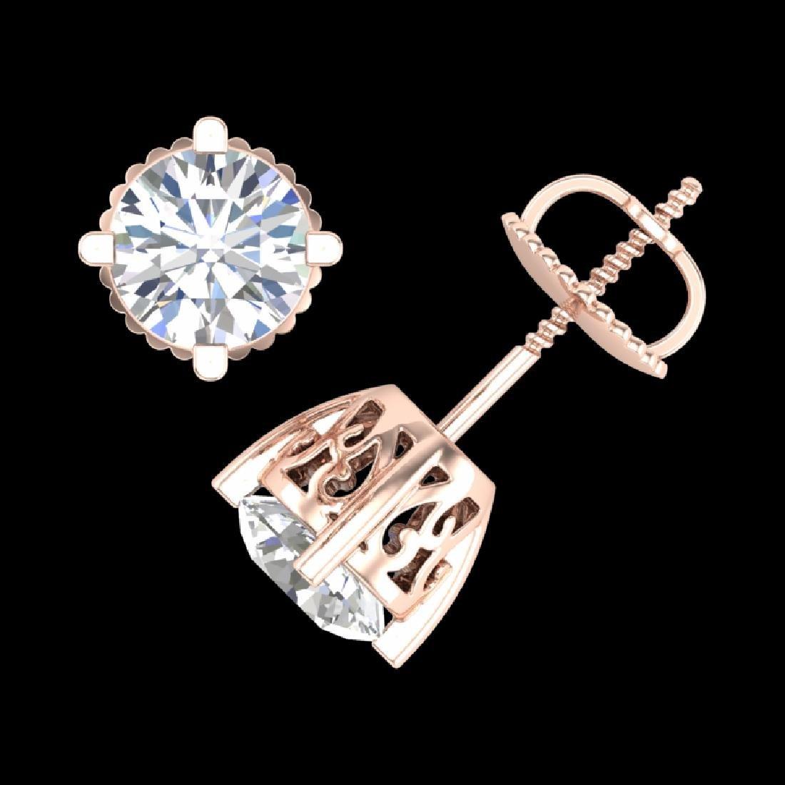 1.5 CTW VS/SI Diamond Solitaire Art Deco Stud Earrings - 3