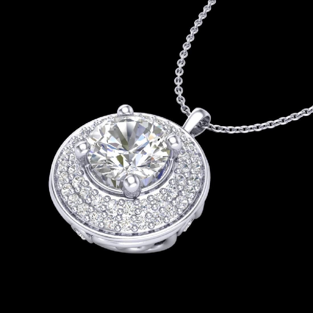 1.25 CTW VS/SI Diamond Solitaire Art Deco Necklace 18K