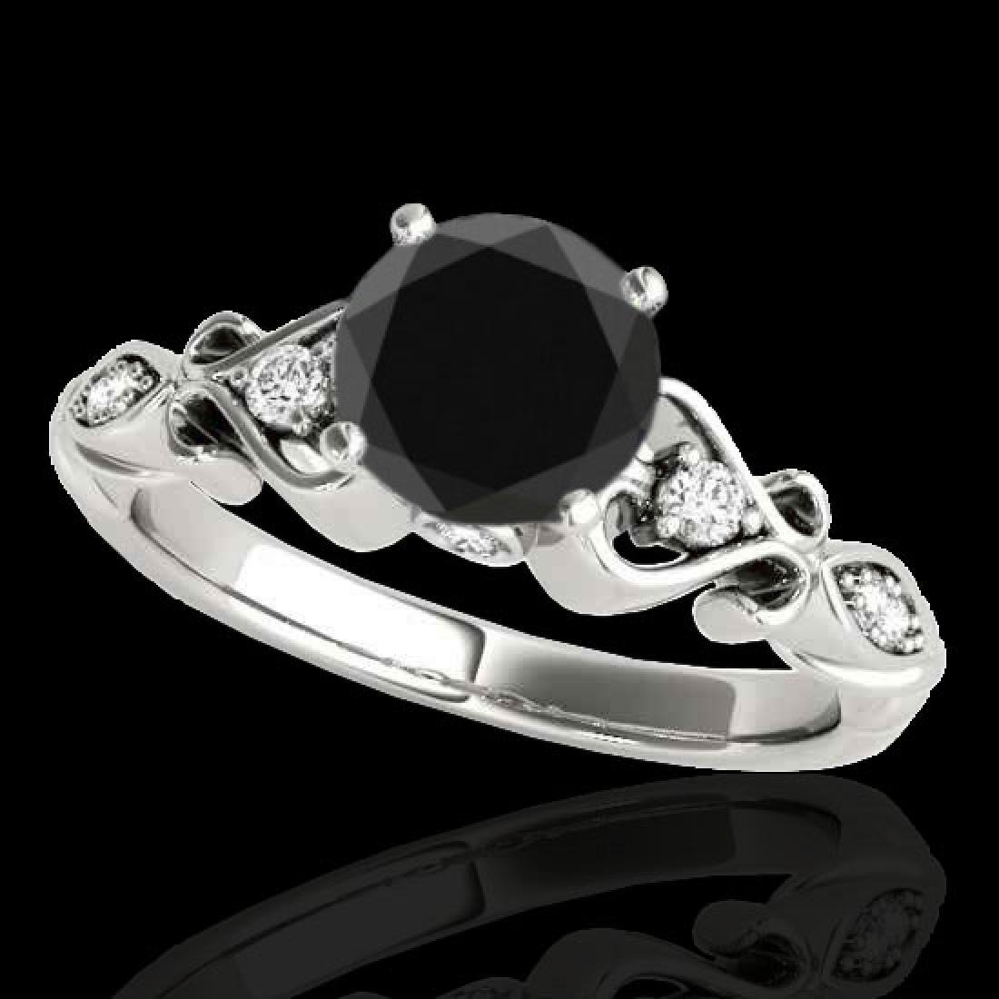 1.15 CTW Certified VS Black Diamond Solitaire Antique