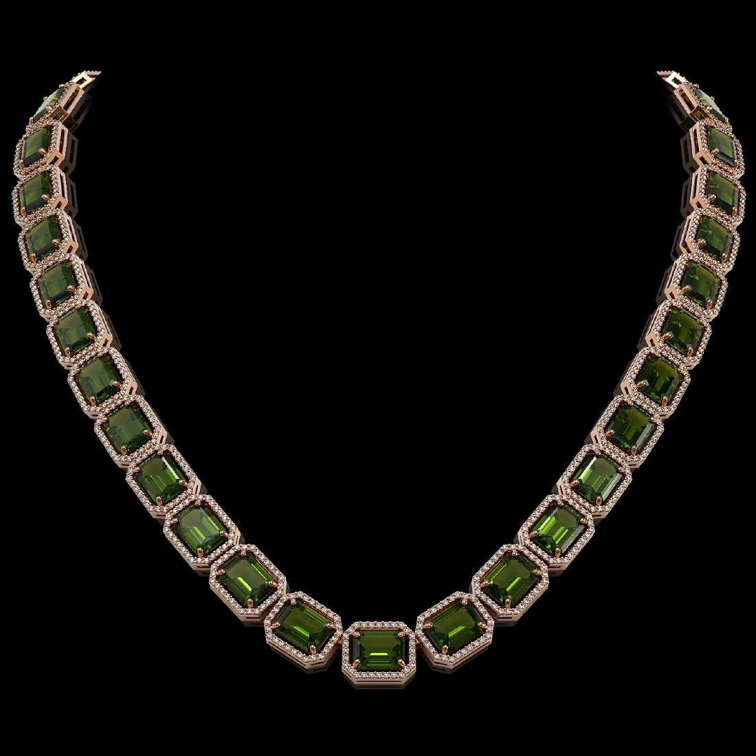 80.65 CTW Tourmaline & Diamond Halo Necklace 10K Rose