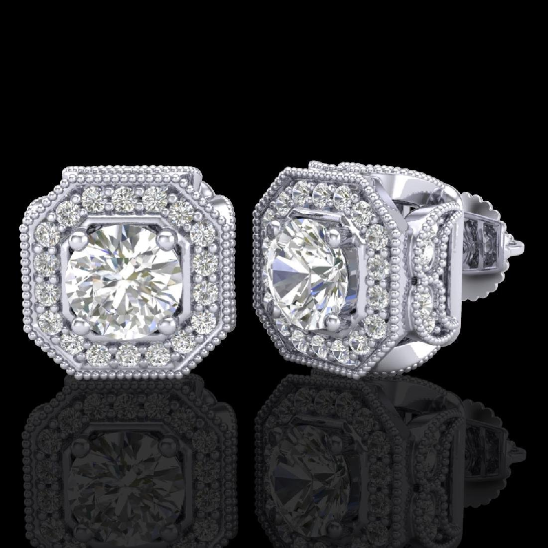 2.75 CTW VS/SI Diamond Solitaire Art Deco Stud Earrings - 2
