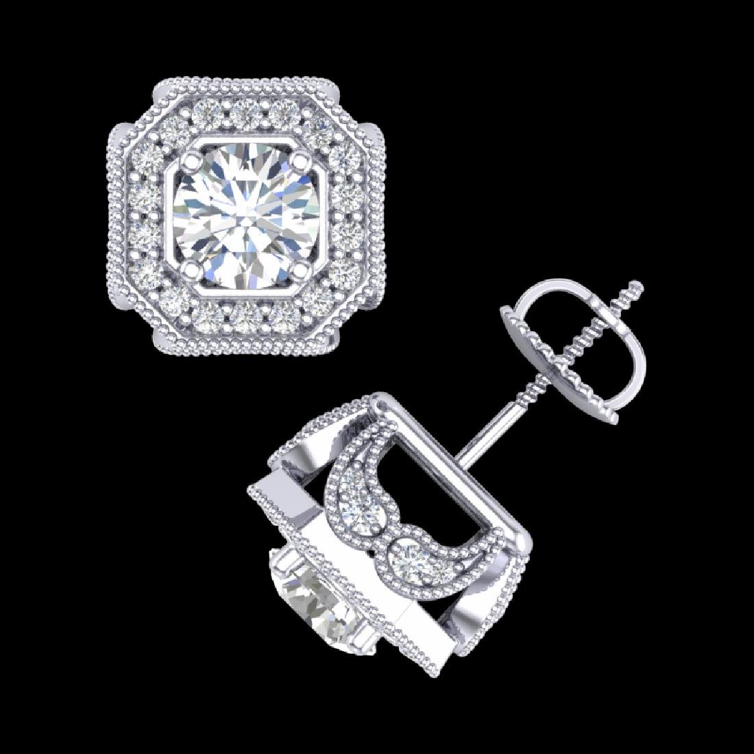 2.75 CTW VS/SI Diamond Solitaire Art Deco Stud Earrings - 3