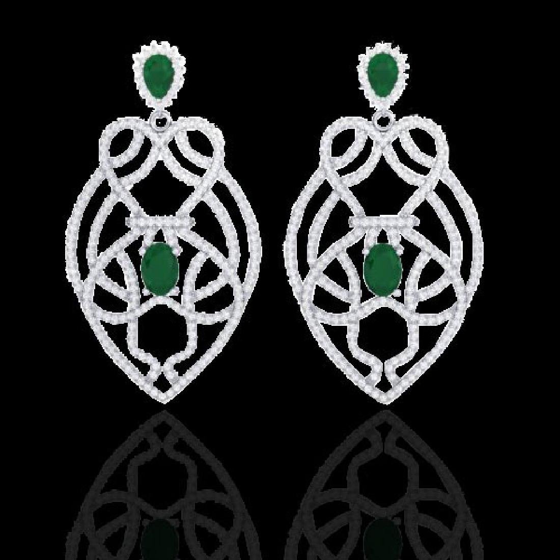 7 CTW Emerald & Micro VS/SI Diamond Heart Earrings