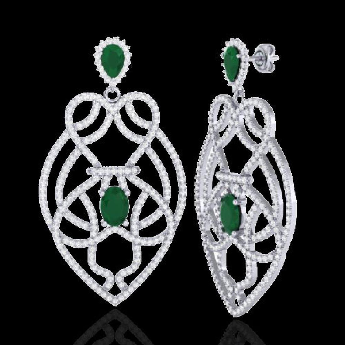 7 CTW Emerald & Micro VS/SI Diamond Heart Earrings - 2