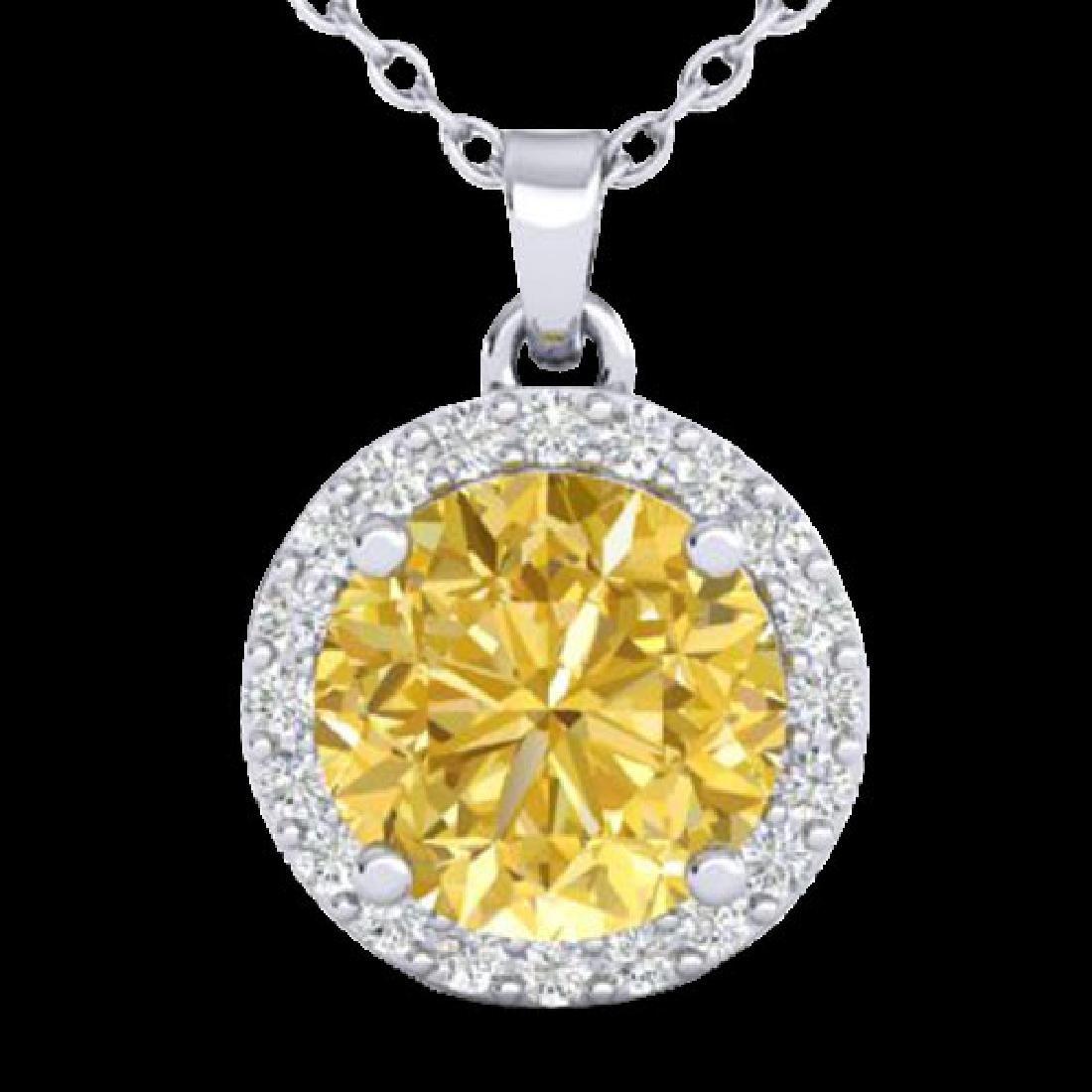 2 CTW Citrine & Halo VS/SI Diamond Micro Pave Necklace - 2