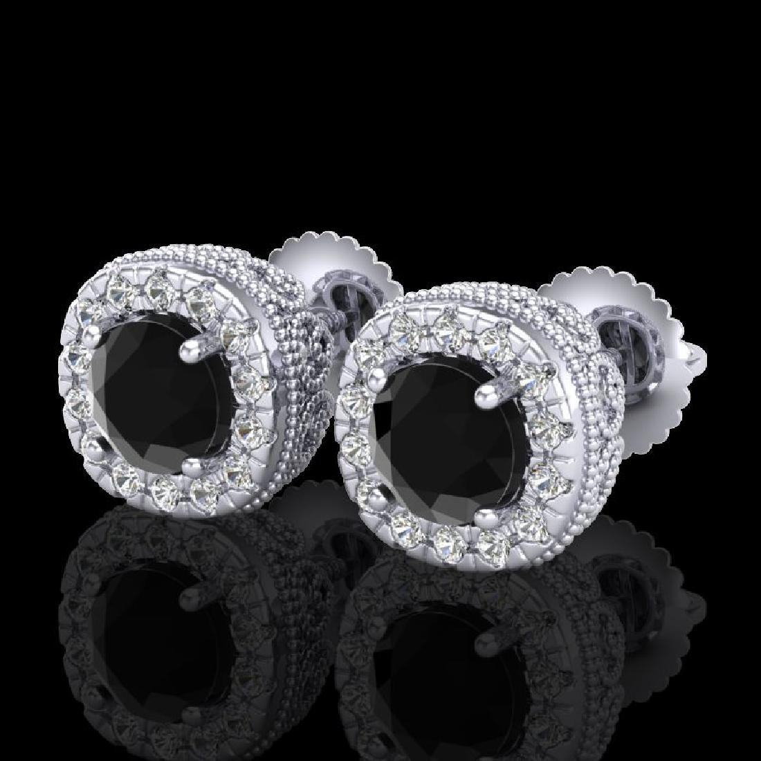 1.69 CTW Fancy Black Diamond Solitaire Art Deco Stud