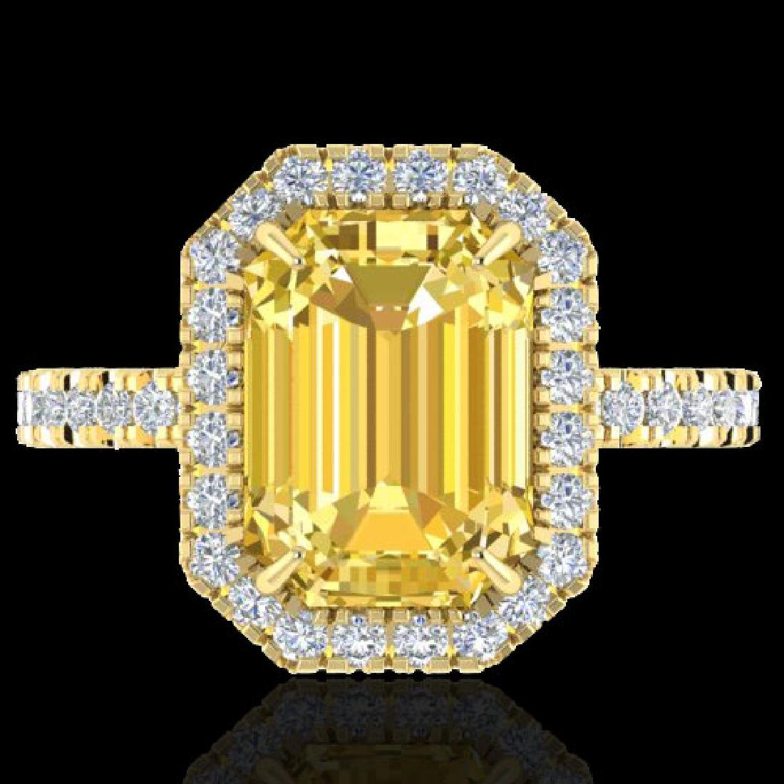 4.50 CTW Citrine And Micro Pave VS/SI Diamond Halo Ring