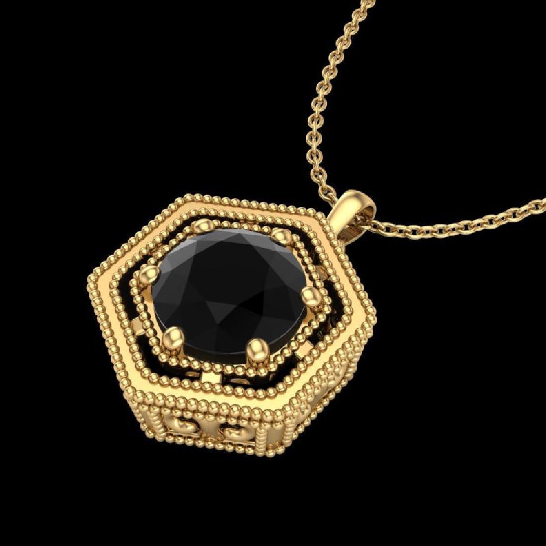 0.76 CTW Fancy Black Diamond Solitaire Art Deco Stud - 2