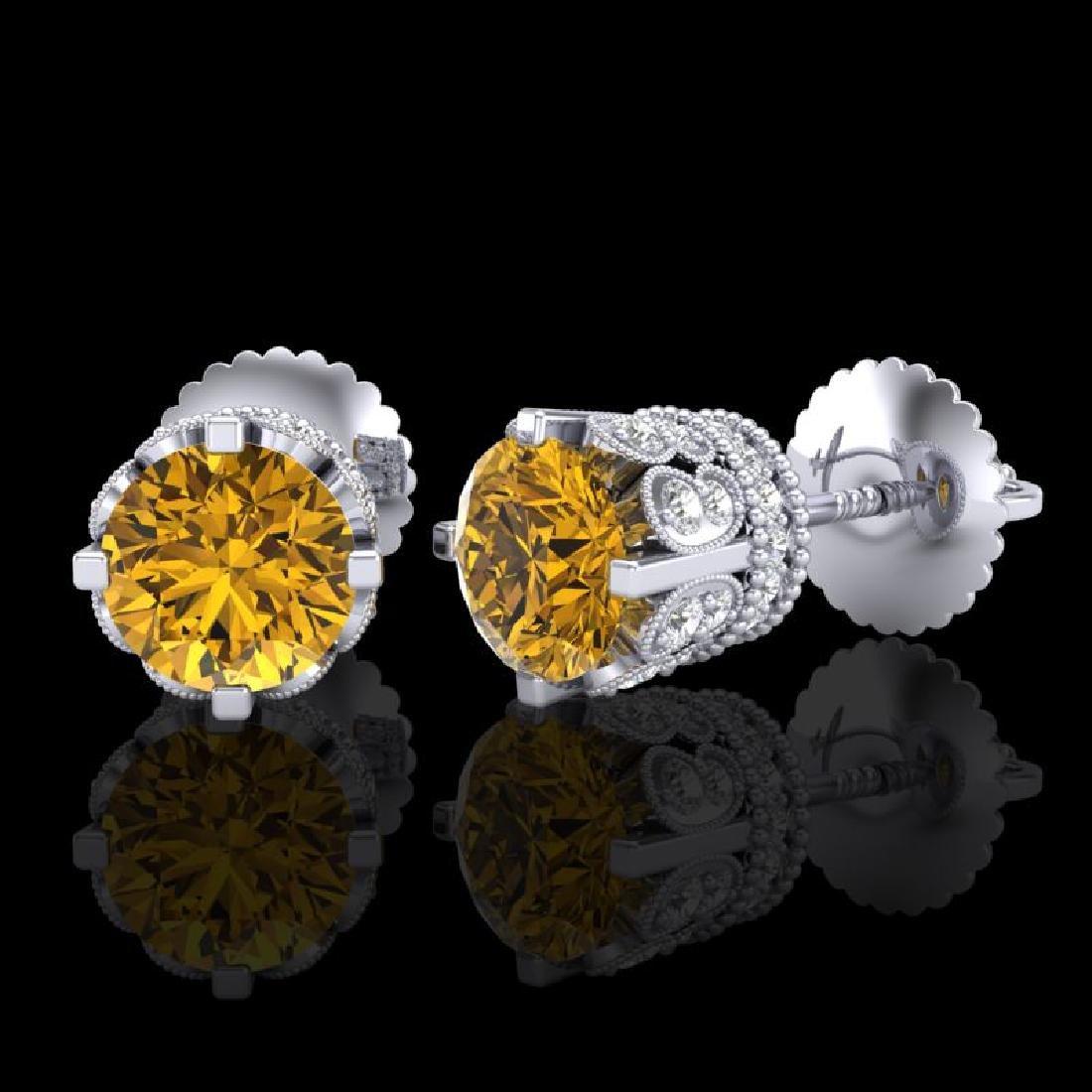 3 CTW Intense Fancy Yellow Diamond Art Deco Stud - 2