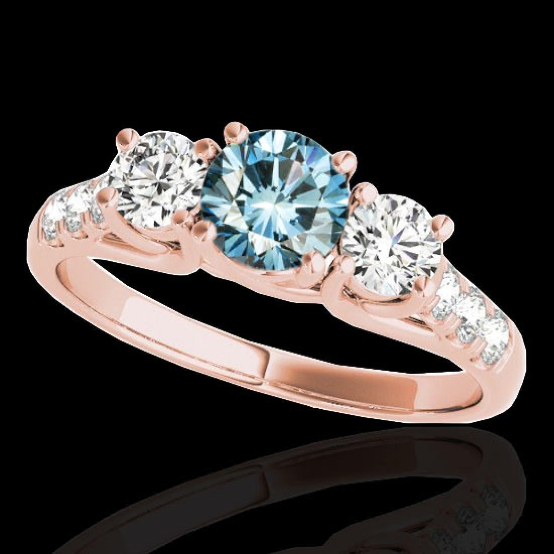 3.25 CTW SI Certified Fancy Blue Diamond 3 Stone Ring
