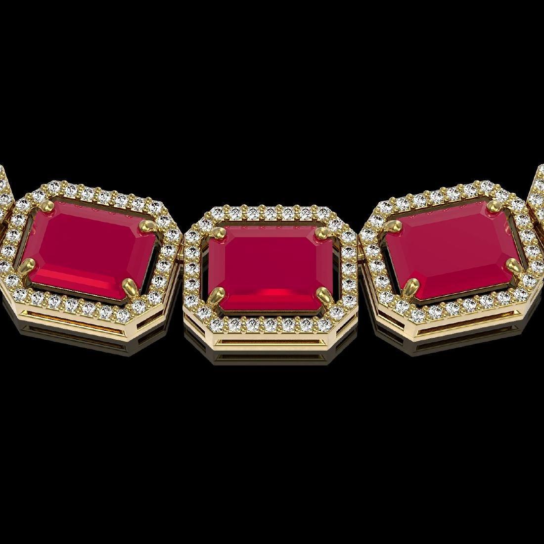 84.94 CTW Ruby & Diamond Halo Necklace 10K Yellow Gold - 2