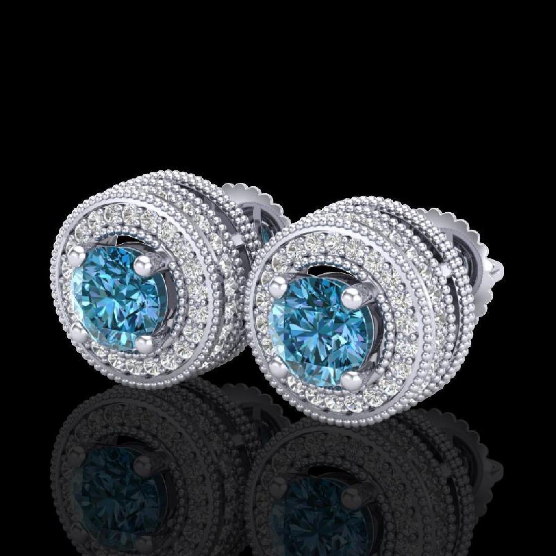 2.09 CTW Fancy Intense Blue Diamond Art Deco Stud