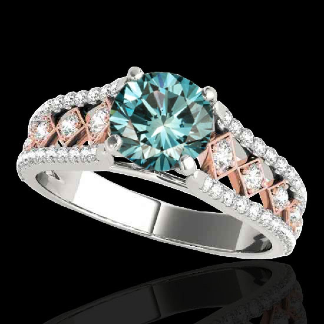 1.45 CTW SI Certified Blue Diamond Solitaire Ring 10K
