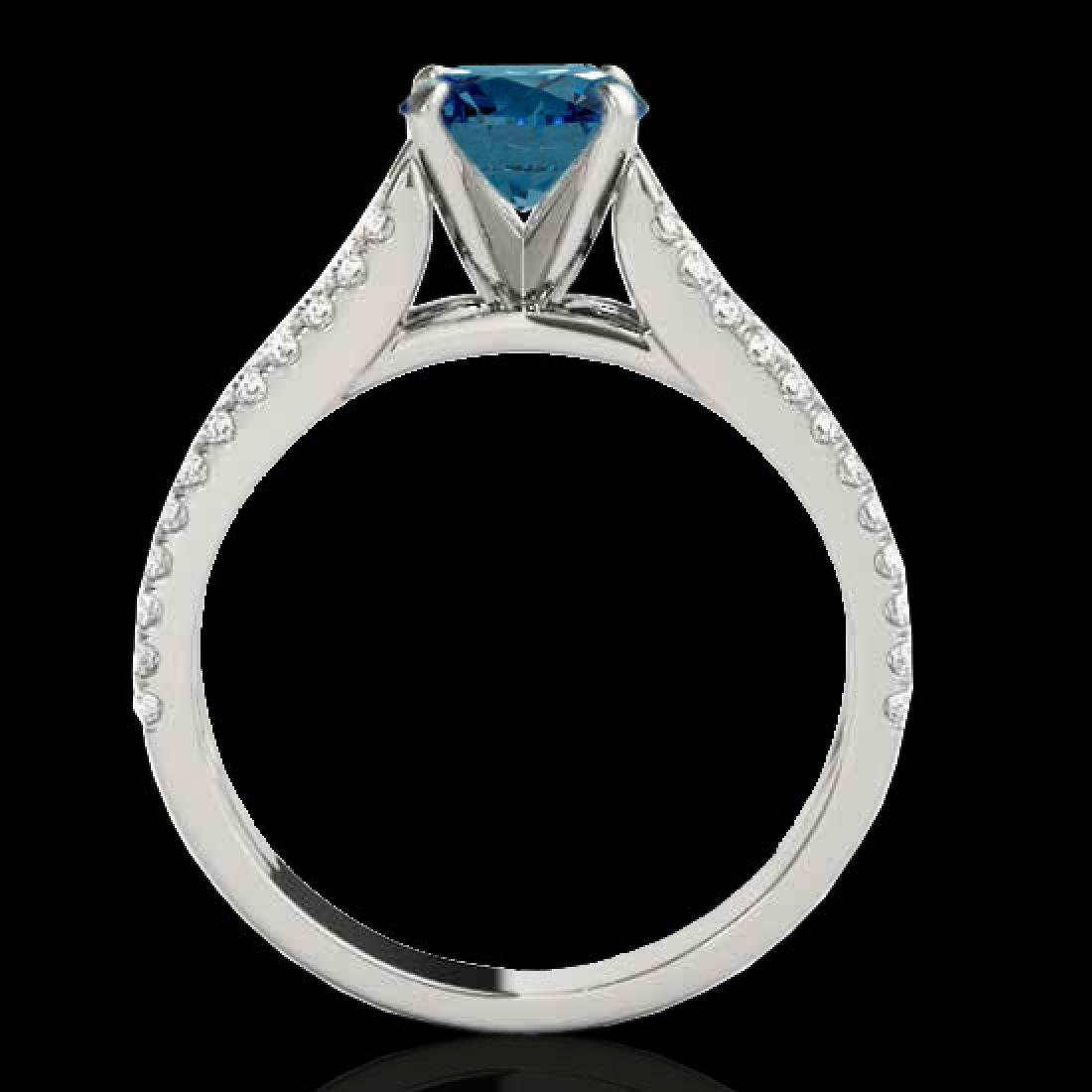 1.45 CTW SI Certified Blue Diamond Solitaire Ring 10K - 2