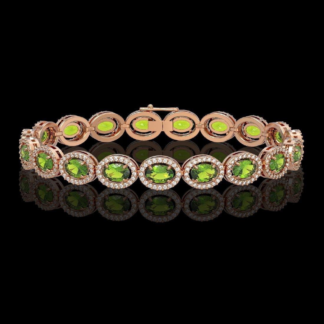 13.87 CTW Peridot & Diamond Halo Bracelet 10K Rose Gold
