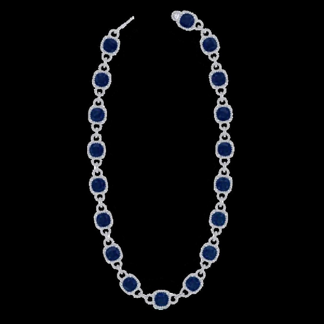 56 CTW Sapphire & Micro VS/SI Diamond Eternity Necklace - 2