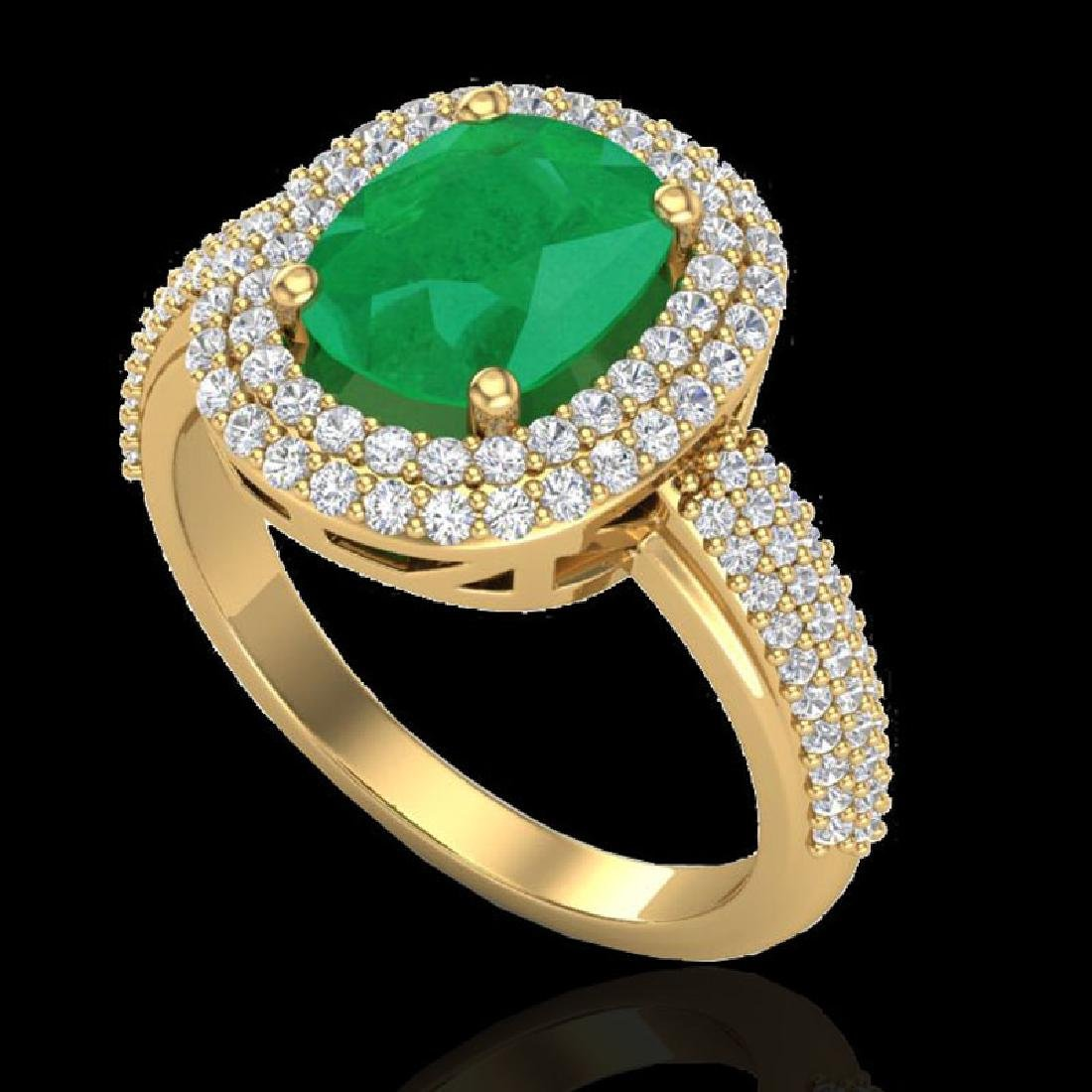 3.50 CTW Emerald & Micro Pave VS/SI Diamond Halo Ring - 2