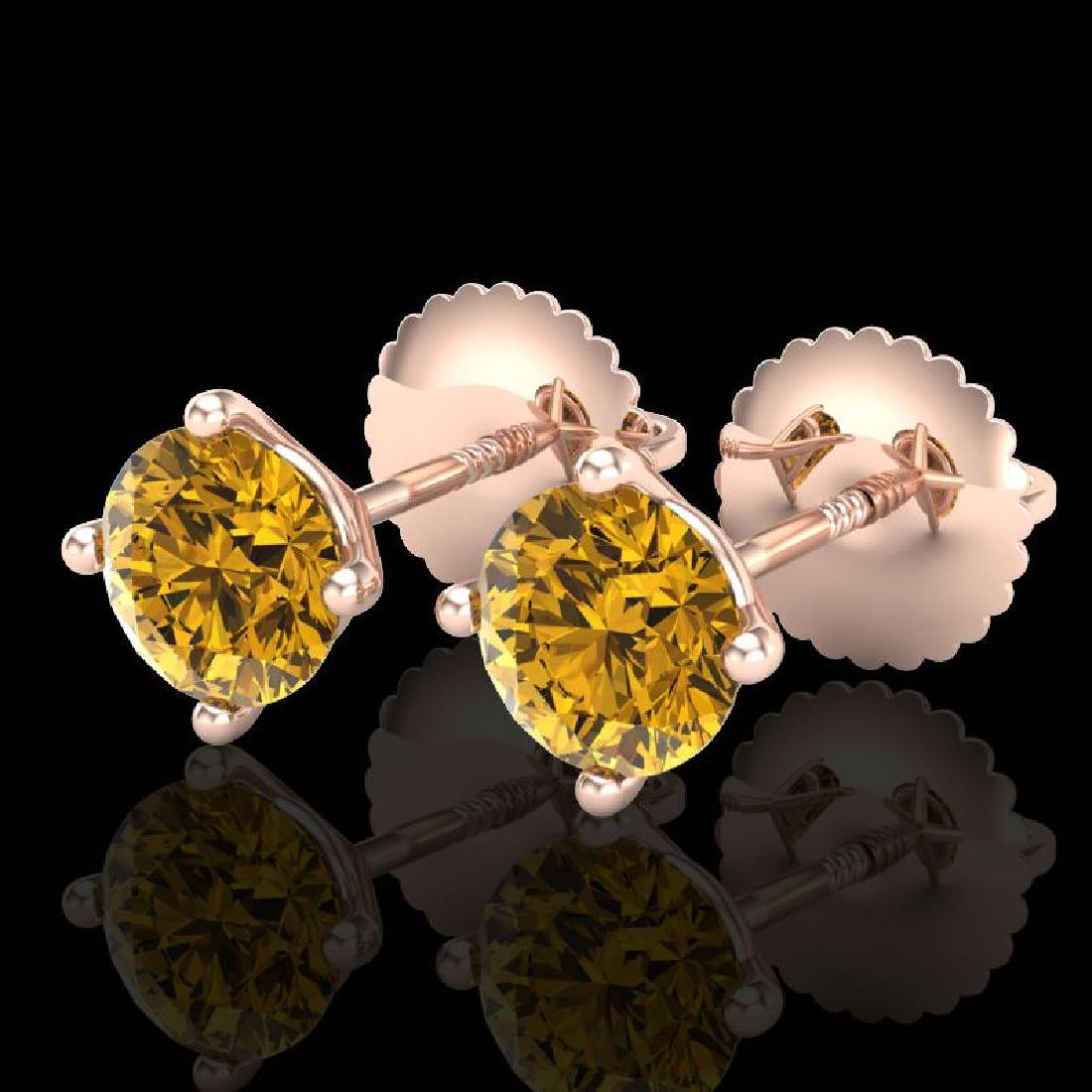 1.01 CTW Intense Fancy Yellow Diamond Art Deco Stud