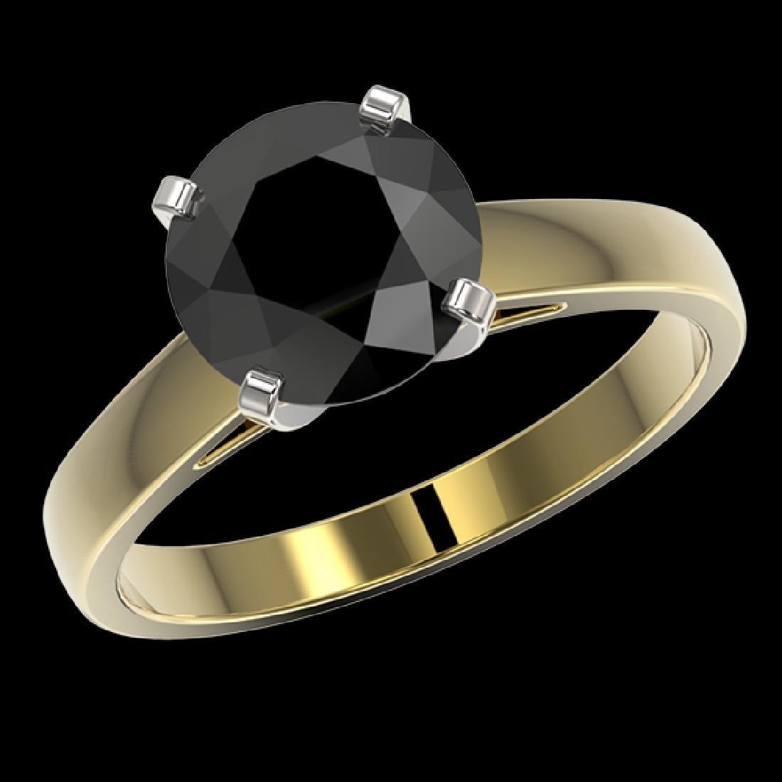 2.50 CTW Fancy Black VS Diamond Solitaire Engagement - 2