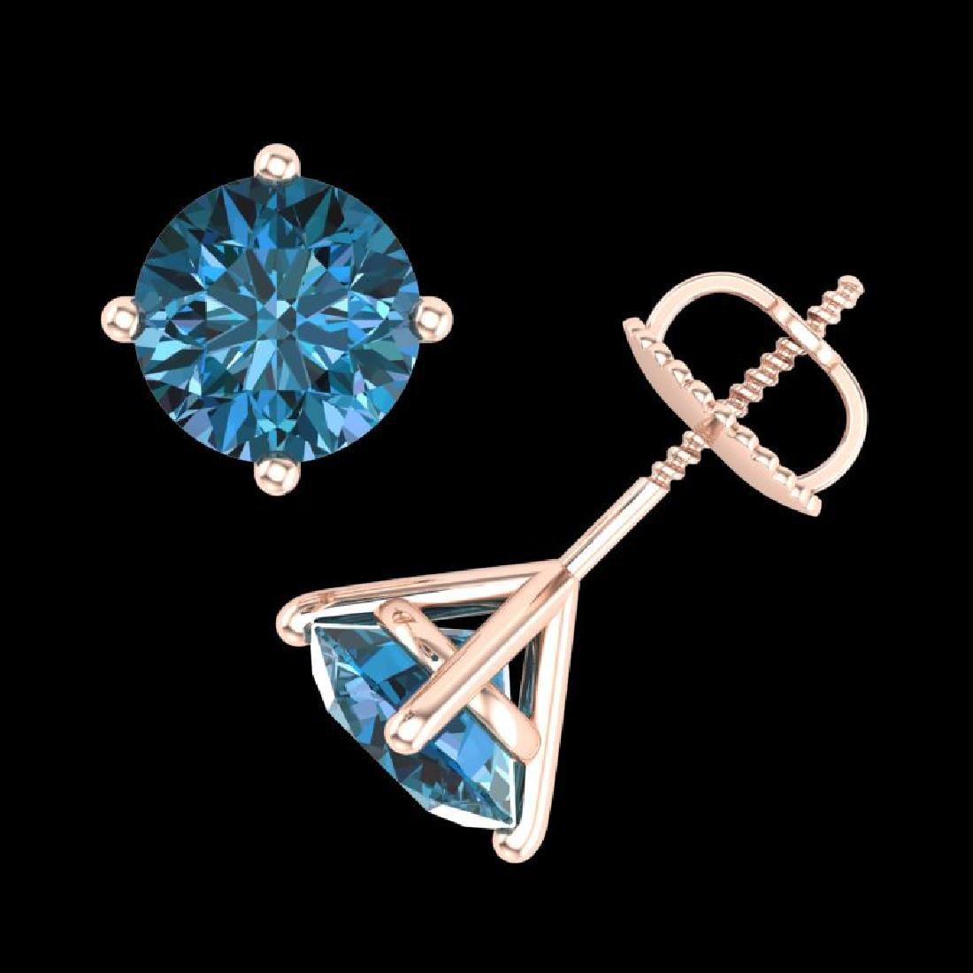2.5 CTW Fancy Intense Blue Diamond Art Deco Stud - 3