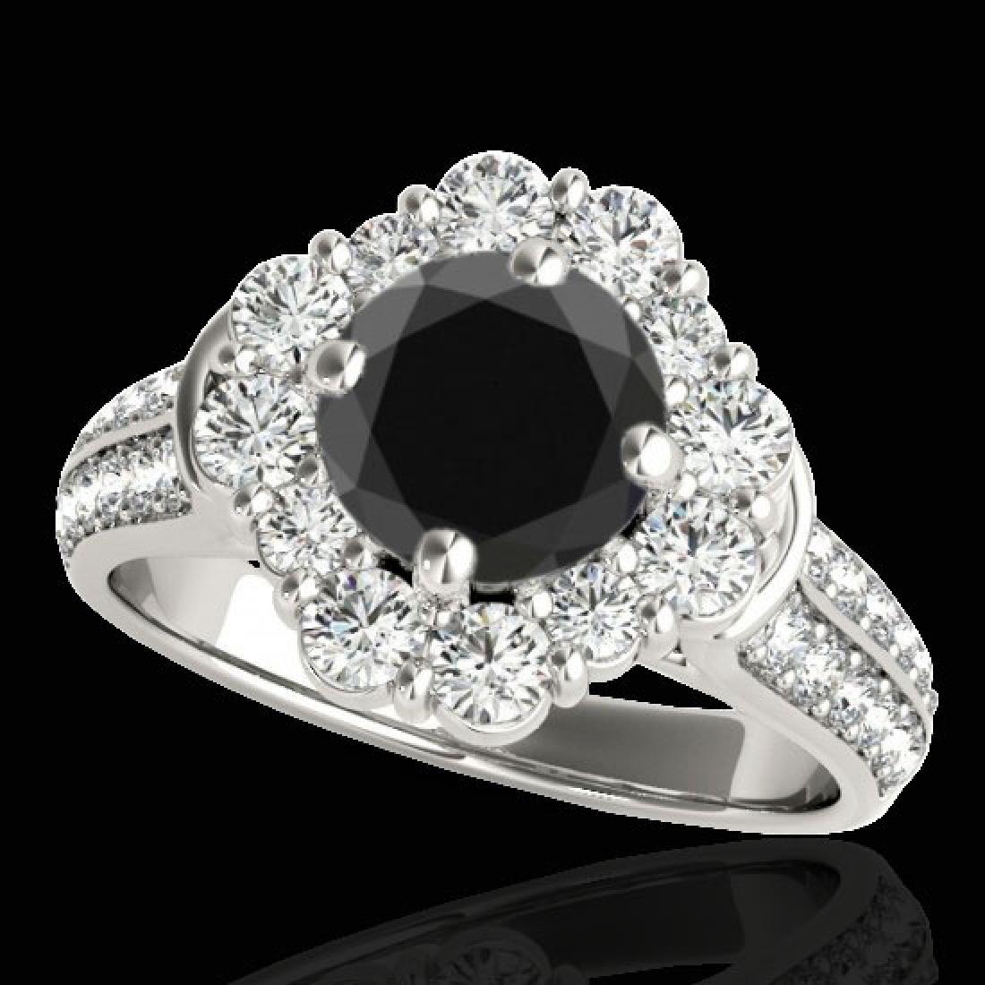 2.81 CTW Certified VS Black Diamond Solitaire Halo Ring
