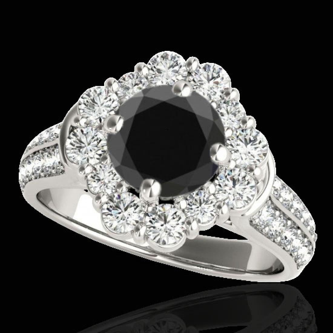 2.81 CTW Certified VS Black Diamond Solitaire Halo Ring
