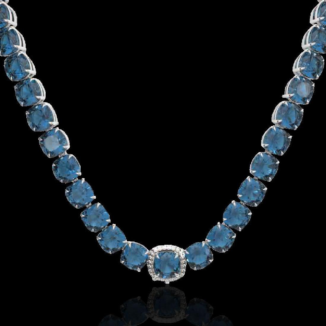 87 CTW London Blue Topaz & VS/SI Diamond Halo Micro - 2