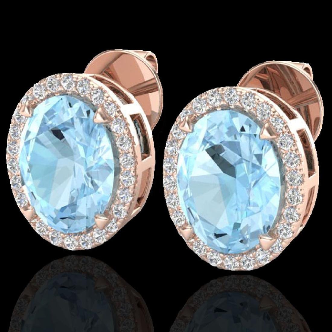 5.50 CTW Aquamarine & Micro VS/SI Diamond Halo Earrings